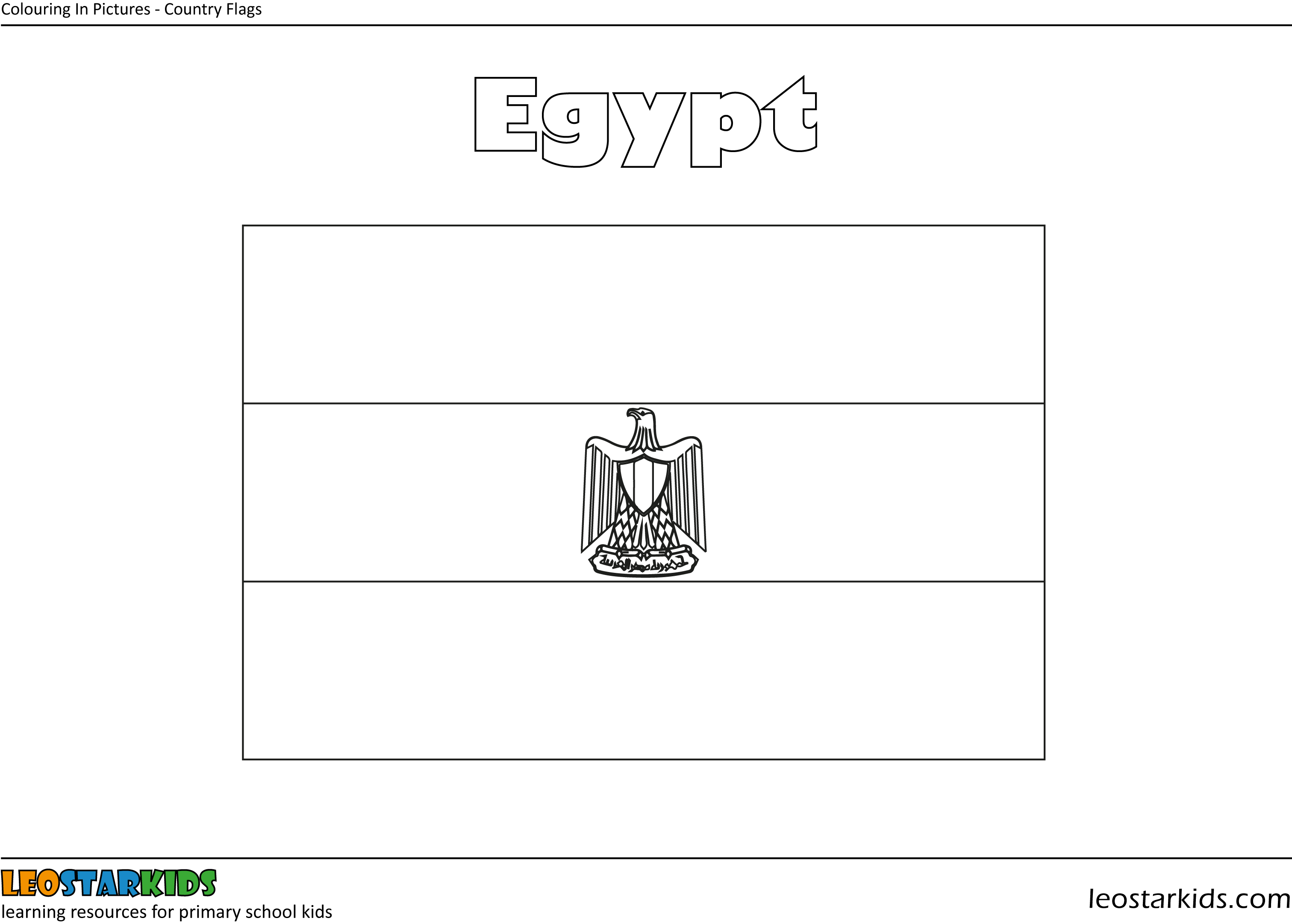 egypt flag coloring pages for kids   Colouring In Pictures - National Flags - LEOSTARKIDS